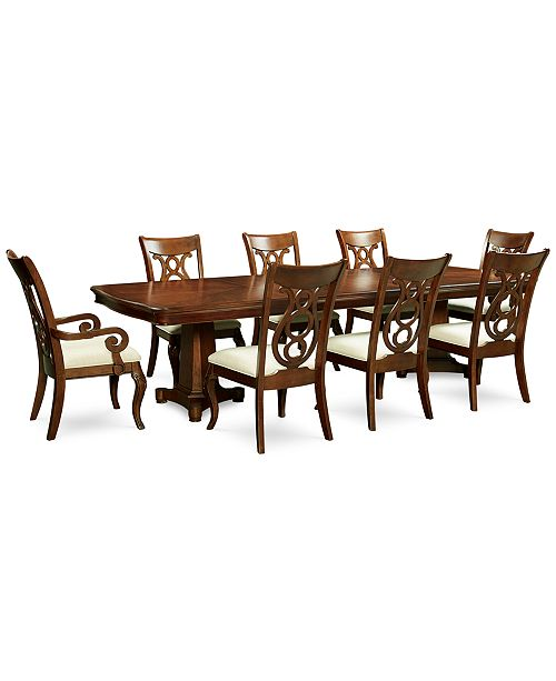 Furniture Bordeaux Double Pedestal 9-Pc. Dining Set, Created for Macy's,  (Dining Table, 6 Side Chairs & 2 Arm Chairs)