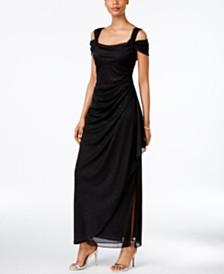 Alex Evenings Cold-Shoulder Draped Metallic Petite Gown