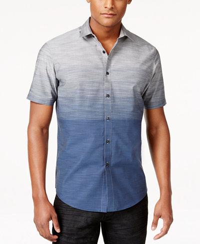 I.N.C. Men's Zeddie Ombré Stripe Short-Sleeve Shirt, Created for Macy's