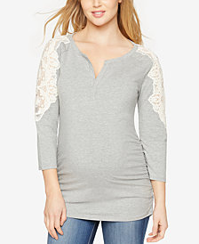 A Pea in the Pod Maternity Lace-Shoulder Henley