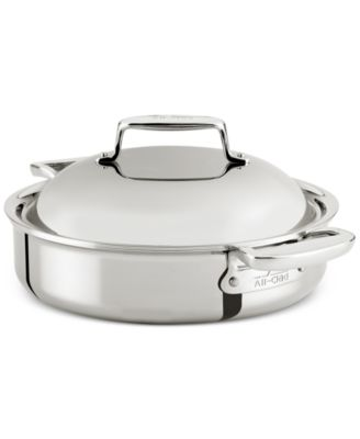 allclad d7 stainless steel 4qt braiser with domed lid