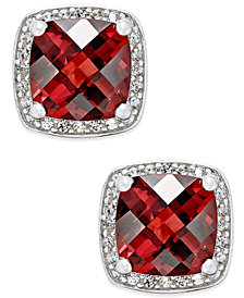 Rhodolite Garnet (2-1/4 ct. t.w.) and Diamond (1/8 ct. t.w.) Halo Stud Earrings in Sterling Silver