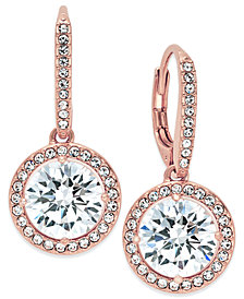 Danori Rose Gold-Tone Round Crystal and Pavé Drop Earrings, Created for Macy's