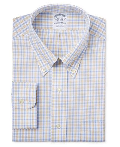 Brooks Brothers Regent Men's Classic-Fit Non-Iron Yellow Tattersall Dress Shirt