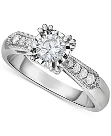 Diamond Vintage-Inspired Milgrain Engagement Ring (5/8 ct. t.w.) in 14k White Gold