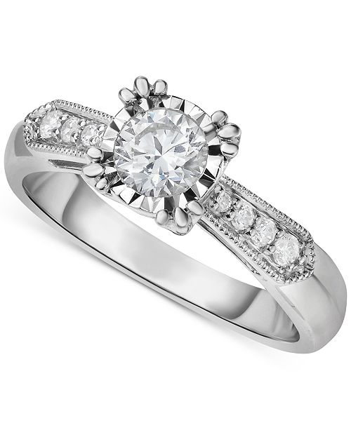 Hearts.Arrows.Together Diamond Vintage-Inspired Milgrain Engagement Ring (5/8 ct. t.w.) in 14k White Gold
