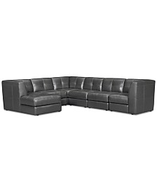 CLOSEOUT! Fabrina 6-Pc. Leather Modular with Chaise, Created for Macy's