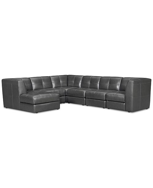 858fb5d4a4f Furniture CLOSEOUT! Fabrina 6-Pc. Leather Modular with Chaise ...