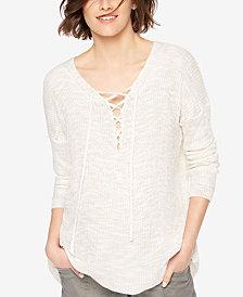 Motherhood Maternity Lace-Up Sweater