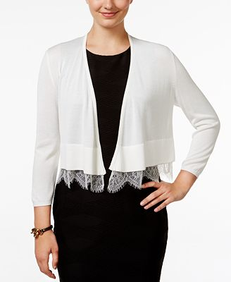 Tommy Hilfiger Lace-Trim Shrug Cardigan - Women - Macy's