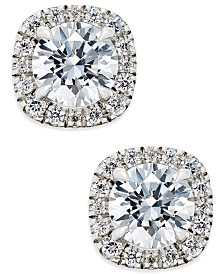 Certified Diamond Halo Stud Earrings (1-1/2 ct. t.w.) in 18k White Gold