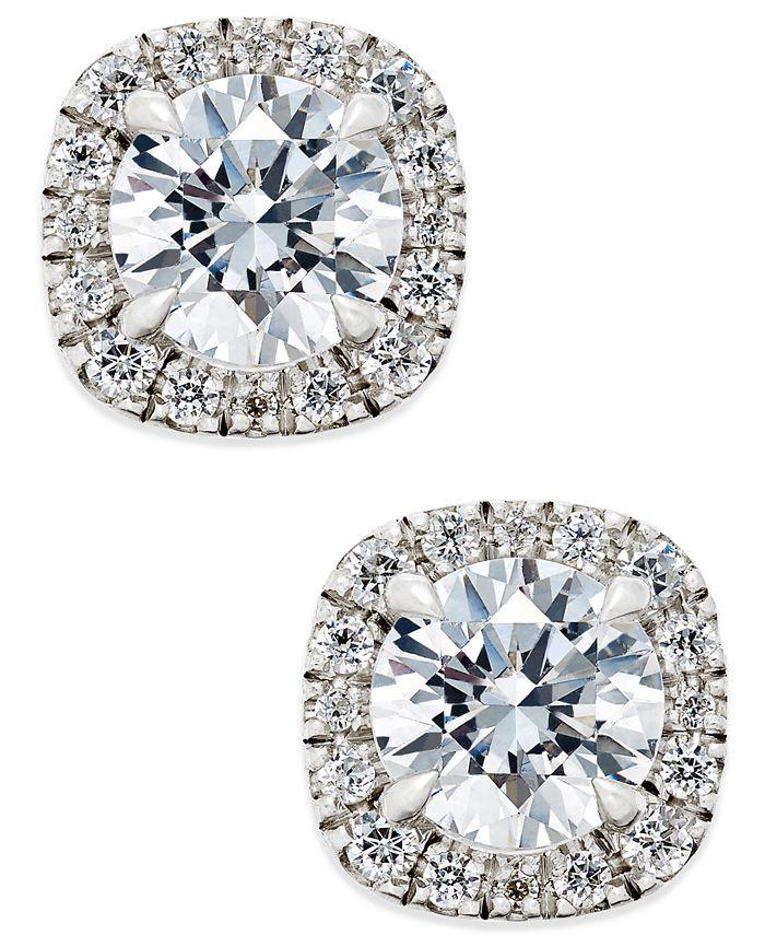 X3 - Certified Diamond Halo Stud Earrings (1-1/2 ct. t.w.) in 18k White Gold
