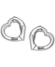 Gucci Women's Sterling Silver Heart Shape Stud Earrings YBD39026800100U