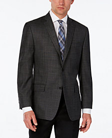 Michael Kors Men's Classic-Fit Gray Windowpane Plaid Sport Coat