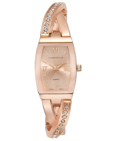Charter Club Women's Rose Gold-Tone Twisted Pavé Bangle Bracelet Watch 20mm, Only at Macy's
