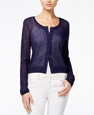 Maison Jules Sheer Cardigan, Created for Macy's - Sweaters - Women ...
