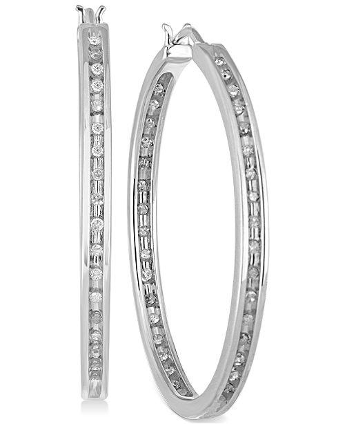 Macy's Diamond Hoop Earrings (1/2 ct. t.w.) in Sterling Silver
