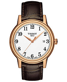 Tissot Men's Swiss Carson Brown Leather Strap Watch 40mm T0854103601200