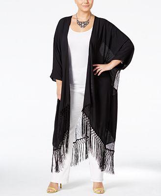 Melissa McCarthy Seven7 Trendy Plus Size Lace-Back Fringe Duster ...