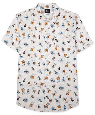 Jem Men's Disney Graphic-Print Short-Sleeve Shirt - Casual Button ...