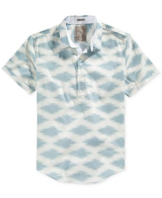 GUESS Men's Oasis-Print Half-Button Shirt - Casual Button-Down ...