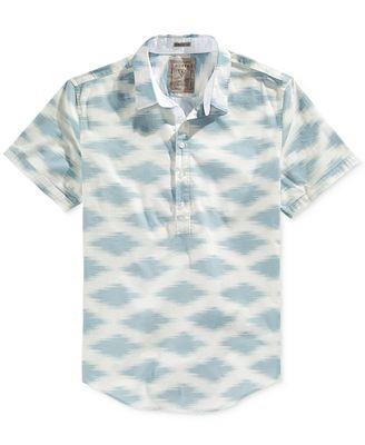 GUESS Men's Oasis-Print Half-Button Shirt - Casual Button-Down ...