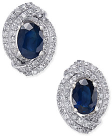 Sapphire (2 ct. t.w.) and Diamond (5/8 ct. t.w.) Stud Earrings in 14k White Gold (Also Available in Emerald & Ruby)
