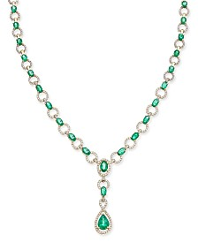 Emerald (9 ct. t.w.) and Diamond (1 ct. t.w.) Collar Necklace in 14k White Gold