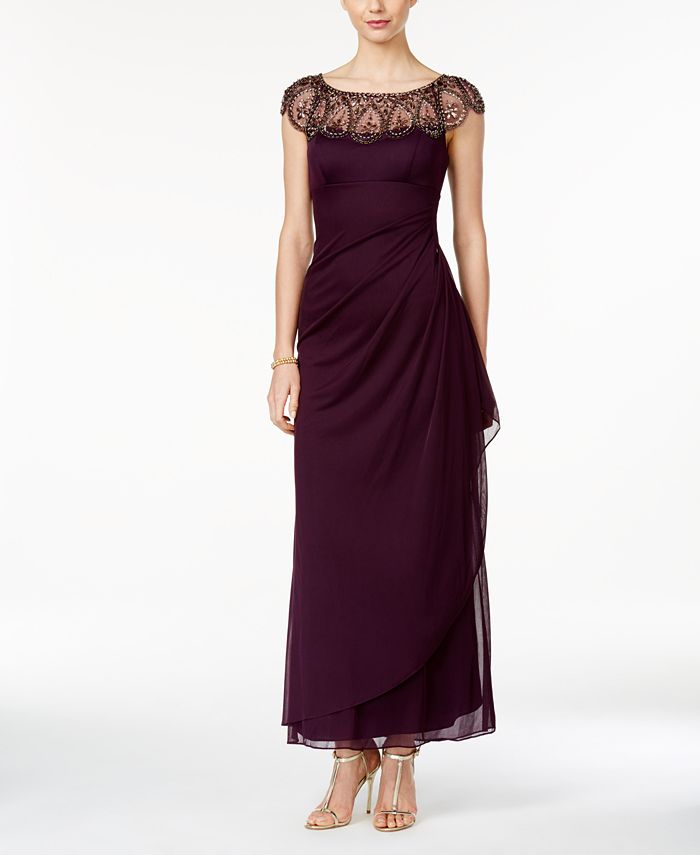 XSCAPE - Petite Embellished Illusion Gown