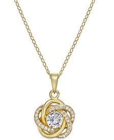 Cubic Zirconia Love Knot Pendant Necklace in Sterling Silver and 18k Gold-Plated Sterling Silver, Created for Macy's