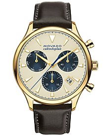 Men's Swiss Chronograph Heritage Series Calendoplan Brown Leather Strap Watch 43mm 3650007