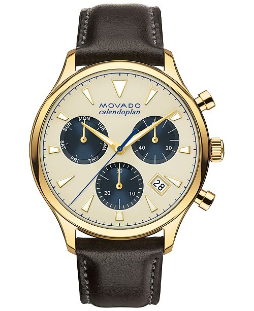 Movado Men's Swiss Chronograph Heritage Series Calendoplan Brown Leather Strap Watch 43mm 3650007