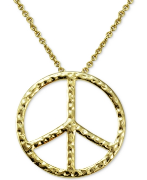 Giani Bernini Textured Peace Sign Pendant Necklace in 18k Gold-Plated Sterling Silver