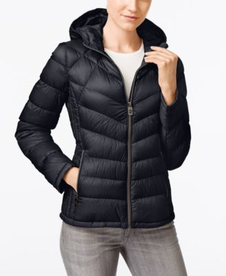 Black packable puffer coat