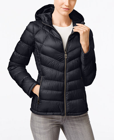 Michael Michael Kors Petite Hooded Packable Down Puffer