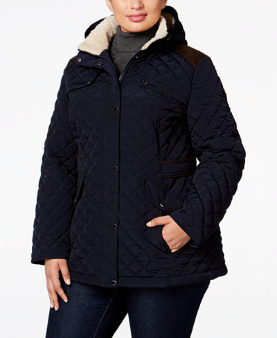 Laundry By Design Plus Size Quilted Hooded Jacket Coats