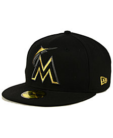 New Era Miami Marlins Black On Metallic Gold 59FIFTY Fitted Cap