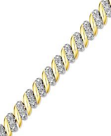 Diamond (1/4 ct. t.w.) Zig Zag Bracelet in 14k Gold-Plated Sterling Silver
