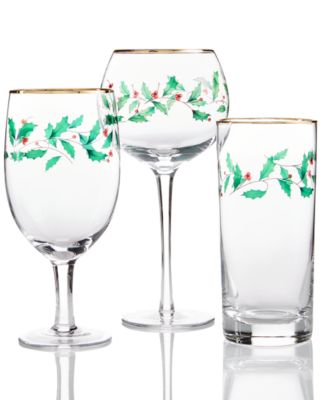 Lenox Set of 4 Holiday Decal Balloon Wine Glasses - All Glassware ...