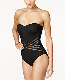 Kenneth Cole Tough Luxe Crochet Bandeau One-Piece Swimsuit,Created for Macy's Style