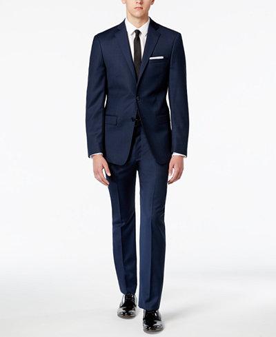 Calvin Klein Men's X-Fit Blue/Charcoal Birdseye Slim Fit Suit