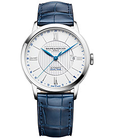 Baume & Mercier Men's Swiss Automatic Classima Blue Leather Strap Watch 40mm M0A10272