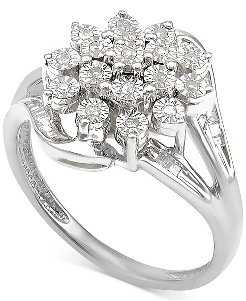 Diamond Cluster Ring (1/5 ct. t.w.) in Sterling Silver