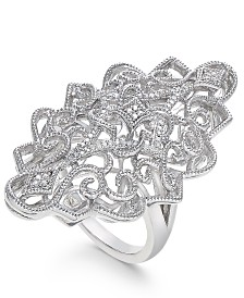 Diamond Filigree Statement Ring (1/10 ct. t.w.) in Sterling Silver