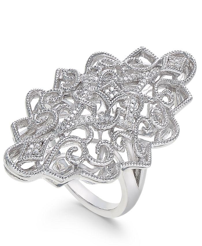 Macy's - Diamond Filigree Statement Ring (1/10 ct. t.w.) in Sterling Silver