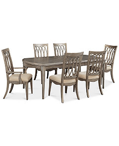 Kelly Ripa Home Hayley 7 Pc Dining Set Table 4 Side Chairs 2 Arm