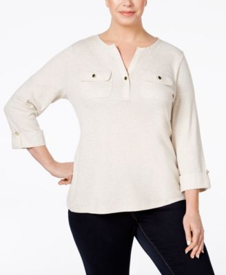 Charter Club Plus Size Utility Henley Top, Only at Macy's