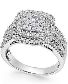 Diamond Cluster Ring (1 ct. t.w.) in 14k Gold or White Gold