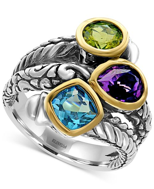 EFFY Collection EFFY® Multi-Gemstone (3-1/4 ct. tw.) Statement Ring in Sterling Silver and 18k Gold