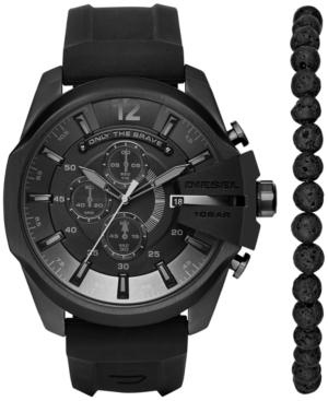 Diesel Men's Chronograph Chief Series Black Silicone Strap Watch and Bead Bracelet Box Set 51x59mm DZ4404